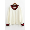 New Trendy Striped Trim Long Sleeve V-Neck Pullover Sweater