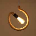 Industrial Rope Pendant Light in Bare Bulb Style