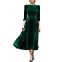 Elegant Round Neck 3/4 Sleeves Plain Pleated Midi Velvet Dress with Padded Shoulders