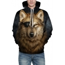 Cool 3D Wolf Eyepatch Pattern Long Sleeves Pullover Hoodie with Pocket