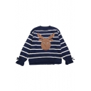 Adorable Deer Cartoon Patched Striped Pattern Bow Sleeves High Low Hem Pullover Sweater