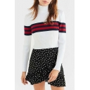 Retro Striped Print Turtleneck Long Sleeve Pullover Cropped Sweater