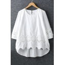 Chic Crochet Detail Round Neck 3/4 Length Sleeve Plain Dip Hem Blouse