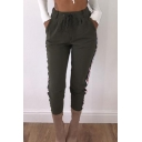 Casual Drawstring Waist Striped Pattern Side Slim-Fit Cropped Pants