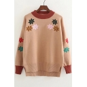Dip Hem Floral Embroidered Long Sleeve Contrast Neck Pullover Sweater