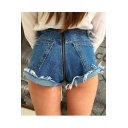 Cool Zipped Back Button Fly Turn-up Raw-Edge Hot Pants with Pockets