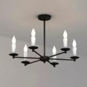 Industrial Vintage 24''W Chandelier in Black, 6 Light
