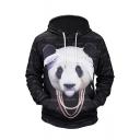 Cute 3D Panda Letter Print Drawstring Hood Long Sleeve Unisex Hoodie