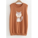 New Trendy Cartoon Fox Pattern Round Neck Vest Pullover Sweater