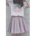 Cute Cartoon Print Short Sleeve Round Neck Tee