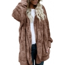Fashionable Open Front Long Sleeves Hooded Longline Faux Fur Fluffy Coat