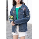 Chic Letter Print Lapel Button Down Long Sleeve Denim Jacket with Pockets