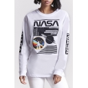 Hot Fashion Round Neck Long Sleeve Letter Pattern Pullover Stylish T-Shirt