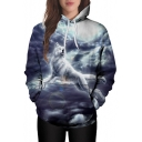 Fancy Wolf Cloudy Sky Printed Long Sleeves Pullover Hoodie with Pocket