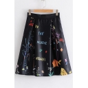 Trendy Letter Print High Waist Zipper Back Midi A-line Skirt