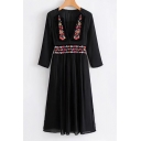 New Design Tribal Style Floral Embroidery Plunge Neck Long Sleeve Midi Dress