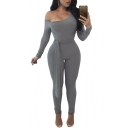 Sexy Plain Slash Neck Long Sleeve Knotted Waist Fashion Skinny Jumpsuit