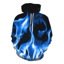 Fashionable 3D Fire Print Long Sleeve Leisure Hoodie with Pocket