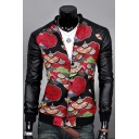 Chic Fan Print Faux Leather Long Sleeve Stand-Up Collar Single Breasted Jacket