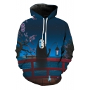 Leisure Starry Night River Bridge Sakura Cartoon Movie Character Printed Pullover Hoodie