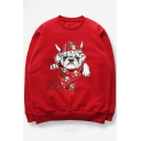 Chic Cartoon Dog Print Long Sleeve Round Neck Long Sleeve Pullover Sweatshirt