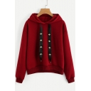 Simple Floral Drawstring Embellished Long Sleeves Pullover Casual Hoodie