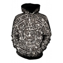 Ancient Tribal Totem Pattern Long Sleeves Pullover Hoodie with Pocket