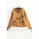 Cute Deer Embroidered Long Sleeve Buttons Down Hooded Woolen Coat