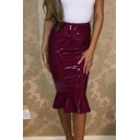 Sexy Simple Plain Ruffle Hem Bodycon Midi Skirt