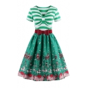 Summer Bow Cowl Neck Short Sleeves Belted Circus Elephant Horse Pattern Striped Flared Midi Dress