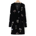 Chic Floral Embroidered V-Neck Long Sleeve Wrap Mini Dress