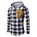 Classic Plaid Long Sleeve Single Breasted Hooded Coat