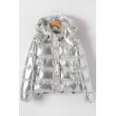 Pop Silver Sequined Zippered Single Breasted Quilted Coat with Detachable Hood & Pockets