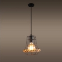 Industrial Pendant Light with 6.69''W Metal Cage, Black