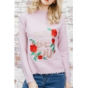 Chic Floral Embroidered Round Neck Long Sleeve Pullover Sweater