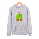 Autumn's Fashion Cactus Cartoon Pattern Long Sleeves Pullover Hoodie with Pocket