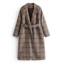 British Style Notched Lapel Long Sleeves Tartan Plaids Belted Longline Woolen Quilted Coat