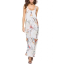 Sexy Open Back Digital Print Maxi Cami Beach Dress