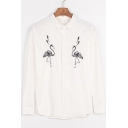 Fashionable Ostrich Embroidered Long Sleeve Button Down Shirt