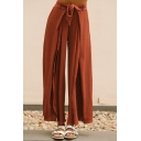 Simple Plain Split Side Wide Leg High Rise Pants with Belt