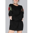 Simple Floral Embroidered Round Neck Long Sleeves Loose Pullover Sweatshirt