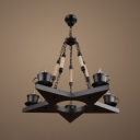 Industrial 5 Light Chandelier with Star Design in Black Finish, 5 Light