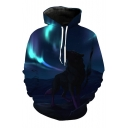 Fashion Aurora Print Long Sleeve Pocket Hoodie with Pocket