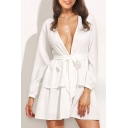 Fairylike Plunge Neck Long Sleeves Elastic Cuffs Belted Tie-Front Layered Hem Mini A-line Dress