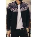 Men's Fashion Ethic Geometric Printed Color Block Long Sleeves Zippered Baseball Jacket