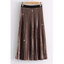 Hot Fashion Elastic Waist Beaded Detail Simple Plain Pleated Skirt