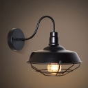 Industrial Wall Light with 14.17''W Metal Shade and Metal Cage, Black/White