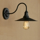 Industrial Wall Sconce with 8.5''W Saucer Metal Shade, Black