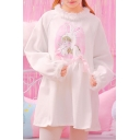 Adorable Round Neck Long Raglan Sleeves Girl Portrait Pattern Faux Fur Trimmed Loose Mini Smock Dress