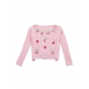 Adorable Cherries Strawberries Embellished Long Sleeves Round Neck Ribbed Pullover Sweater